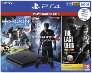 Sony Playstation 4 500GB + Horizon Zero Dawn + Uncharted 4 Kres Złodzieja + The Last of Us Remastered