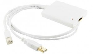 4world Adapter mini DisplayPort [M] + USB [M] > HDMI [F], 0.5m, biały